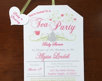 digital self print tea party baby shower invitations a baby is brewing