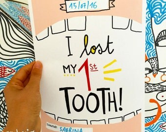 "Printable poster ""I LOST MY 1ST TOOTH!"" Digital file"