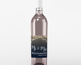 4 Wedding Wine Labels - Custom Wedding Wine Labels - Floral Wine Labels - Thank You Wine labels - Mr and Mrs Wine Labels - Names and Date