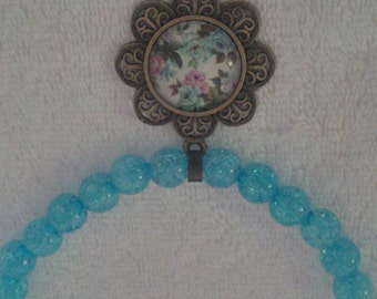 Turquoise Beaded Glass Dome Flower Pendant Necklace  (#478)