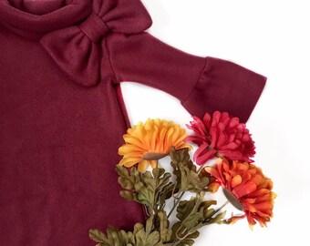 Holiday Dress - Fleece Dress- Fall Dress- Winter Dress - Baby Toddler Girls Dress- 1960's era fashion-  Christmas Dress- girls A-line Dress