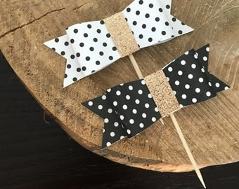 12 mixed black and white polka dot bow cupcake toppers .. bow cupcake topper .. bridal shower .. bachelorette party .. birthday party