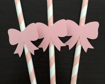 Bow and mustache gender neutral paper straws  .. pink and blue .. baby shower