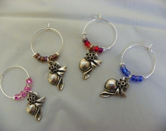 Set of 4 Red Hat Wine Glass Charms