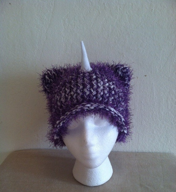Knitting Pattern For Unicorn Hat : Knit Unicorn Hat by HandmadeHillShop on Etsy