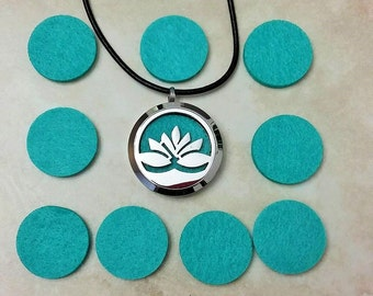 Aromatherapy Essential Oil Diffuser Lotus Locket Stainless Steel including Pads Cowhide Leather Necklace 16 Inches
