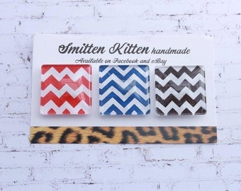 Fridge magnets- handmade, strong. Red, Blue, Black chevron designs. Pack of 3 by Smitten Kitten.