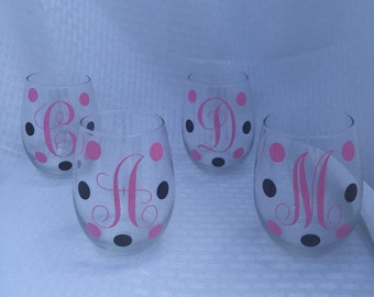 Personalized Stemless Wine Glasses, Monogram Stemless Wine Glasses, Set of 4 Stemless Wine Glasses