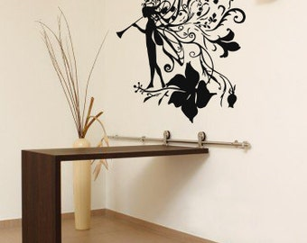 Wall Vinyl Sticker Decals Mural Room Design Girl Flowers Music Fairy Ornament mi025
