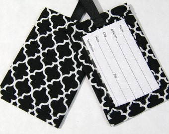 Luggage Tag in a Black and White Lattice Fabric