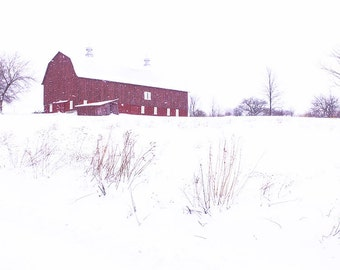 Red Barn Wall Art,Red Barn Photo,Red Barn in Winter Snow,Red Barn Photography,Rustic Farm,Red Barn Winter Photo,Red Barn Picture,Winter Barn