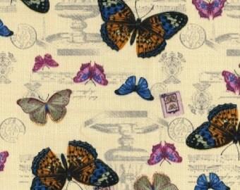 Butterfly Print Cotton Canvas, 100% Cotton - Fat Quarter