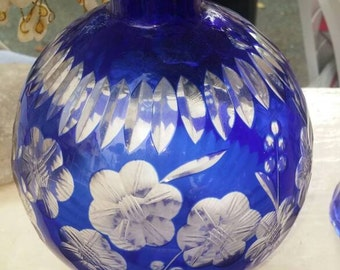 Blue cut - glass Vintage crystal Bohemian vase