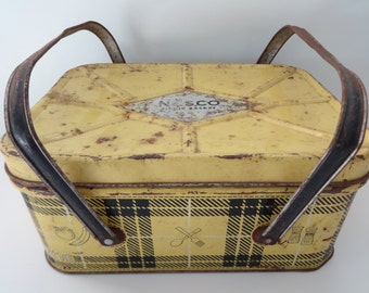 Picnic Basket, Metal Picnic Basket, Picnic Box, Metal Picnic Box, Plaid Picnic Basket, Yellow Picnic Basket, Nesco Picnic Basket, Nesco
