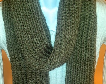 Hand knitted extra soft brown scarf. extra long