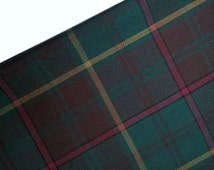 Green and Brown Tartan Fabric, Dark Green and Chocolate Brown Plaid with Red and Yellow, By The Half Yard, Twill, Sewing, Garments, Crafts