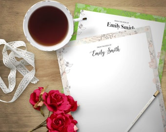 Printable Stationary - Personalized (8.5X11in) Letter size Custom Stationery Floral