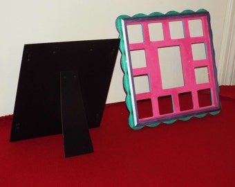 """Frame, pictures, 13 openings, 1 - 3"""" X 5"""" and  12- 2"""" X 2"""""""