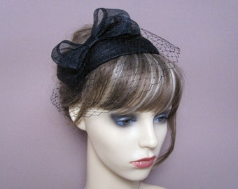 Black fascinator sinamay teardrop veiled hat with bow & french net veil 1940s 1950s style headpiece wedding funeral occasion wear formal hat