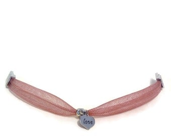 Romantic bracelet in Brown mesh and heart charm