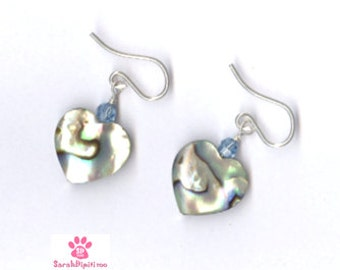 Paua Crystal Shell Heart Earrings, Sterling Silver, Abalone Crystal Shell Heart Earrings, Paua Shell Heart Earrings With Crystals