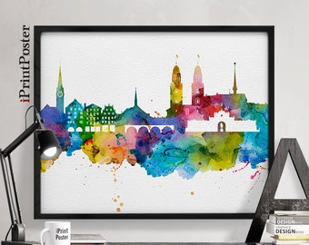 Zurich skyline etsy for Home decor zurich