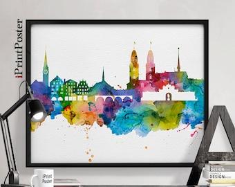 Zurich poster, Zurich watercolour, Zurich, Zurich print, Switzerland skyline, fine art print, wall art, travel art, home decor, iPrintPoster