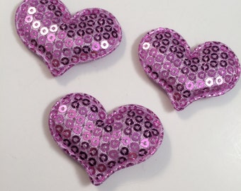 Lavender Heart White Sequin Hearts, Sequin Hearts, Padded Hearts, Purple Heart, Set of 4