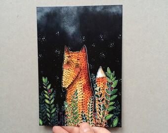 "postcard ""fox in grass"""