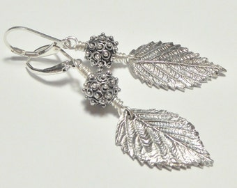Fine Silver Raspberry Leaf Earrings