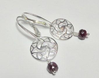 Ruby and Sterling Lotus Mandala Earrings