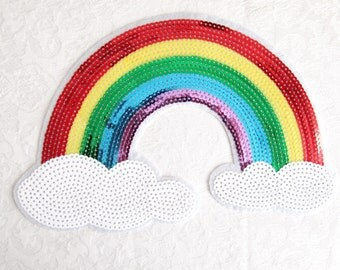 Cloud Patch Colorful Sequins Appliques  Heat Transfer Hot Fix Iron for Fashion  Embellisment  DIY Craft Cloud Patch/RAINBOW