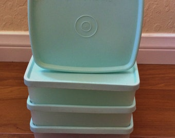 Vintage Sheer Tupperware Square Round and Square Away Sandwich Keepers with Mint Green Lids
