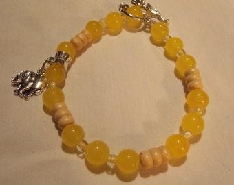 Beaded Bracelet,hand made w/ yellow jade