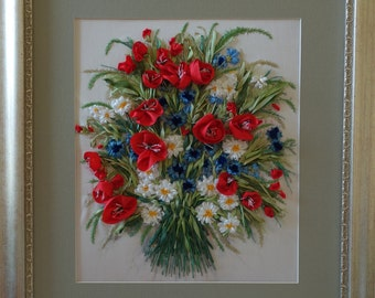 Embroidery silk ribbon, poppies and cornflowers, bouquet of wild flowers, the picture as a gift