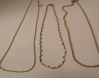3 Vintage Necklace Chains #7