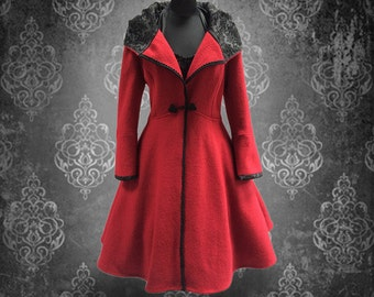 Vintage coat Retro coat 50s hand-crafted wide swinging coat in 50s style
