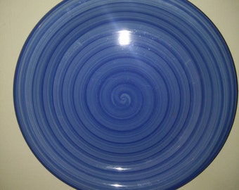 Deep Rich Blue swirl pottery plate by Citrus Grove.