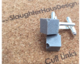 Cube Cufflinks Concrete Silver Plated