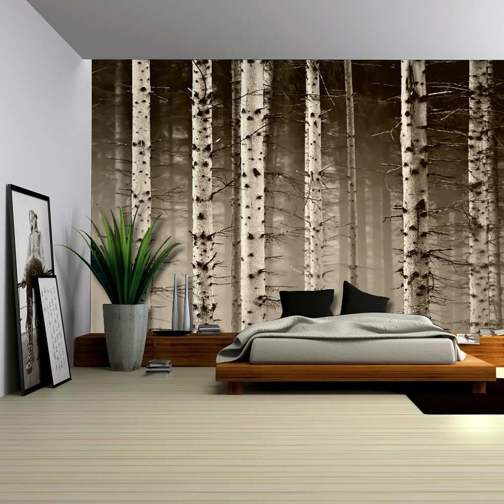 A close up view of a birch tree forest wall mural removable for Birch trees wall mural
