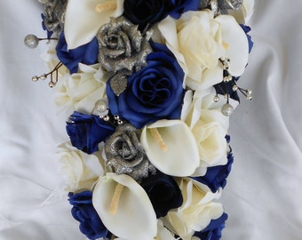Navy blue silver and ivory cascade bouquet 2 pieces Free toss boutonnier included