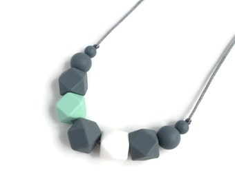 Lexie Silicone Teething Necklace, Geometric Nursing Necklace, Black White Gray Necklace, Silicone Teether Chew Beads, Baby Shower Mom Gift