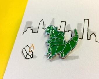 Godzilla Enamel Pin – 22mm Green Origami Pin Badge