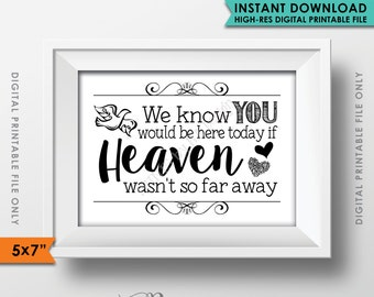 "Heaven Sign, We Know You Would Be Here Today if Heaven Wasn't So Far Away Wedding Sign Tribute Sign, 5x7"" Instant Download Digital Printable"