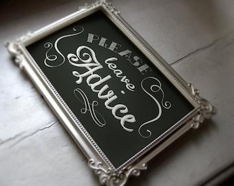 Please Leave Advice chalkboard sign -instant download-PDF file