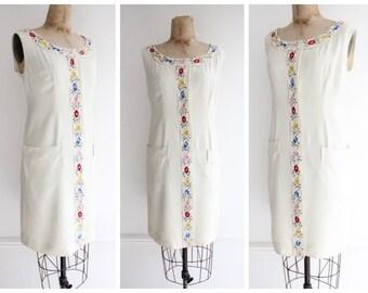 Vintage 1950's Floral Embroidered Dress 50's goodwood revival fifties floral summer dress