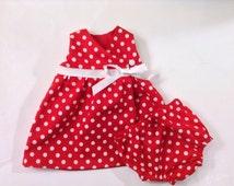 Premature Baby Dress, Preemie Baby Dress, Preemie Polka Dot Dress, Baby Red Polka Dot Dress, Preemie Diaper Cover, Preemie Panties