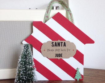 Christmas personalised wooden candy stripe house