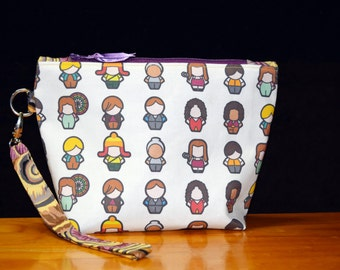 Firefly Serenity~  I Aim to Misbehave~Chibi version Wristlet Clutch Purse/Bag or Cosmetic Travel Bag with Detachable Strap
