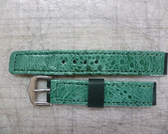 Watch strap, Cane toad leather, colour: Green